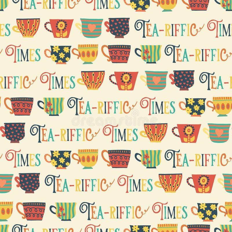 Het patroon van theekoppen vector naadloos beige als achtergrond HetRiffic tijden van letters voorzien De Tijd van de thee Hand g stock illustratie