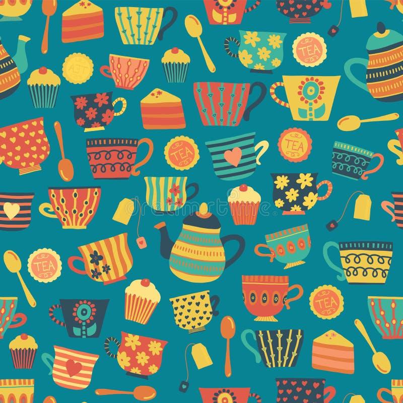 Het patroon van theekoppen vector naadloze wintertaling als achtergrond De koppen van de theetijd, theepot, lepels, cupcakes Getr royalty-vrije illustratie