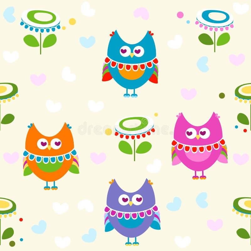 Het patroon van uilen royalty-vrije illustratie