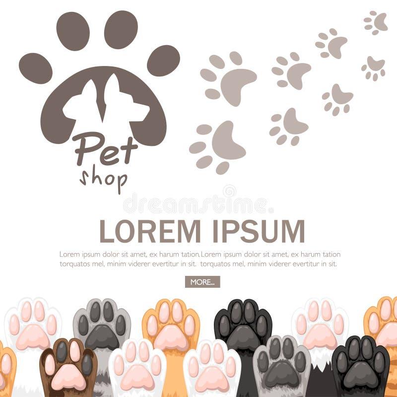 Het patroon van verschillende kleurenkat handtastelijk wordt pictograminzameling De leuke reeks van de kattenvoet Concept voor he vector illustratie