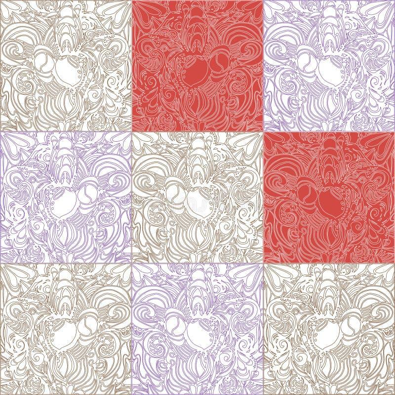 Het patroon van vierkanten met wit en het rood vullen en contouren stock illustratie