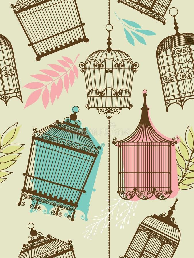 Het patroon van Vintag met birdcages vector illustratie