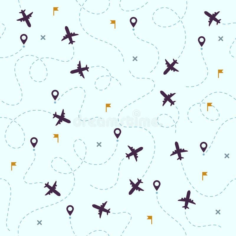 Het patroon van vliegtuigvluchten Vliegtuigreis, avia reizende routes en luchtvaart vector naadloze achtergrond stock illustratie