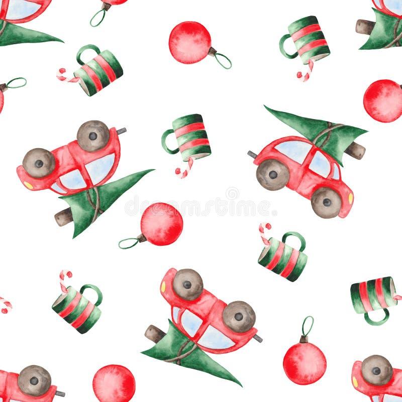 Het patroon van waterverfkerstmis met rode auto, sparren, ballen en snoepjes royalty-vrije illustratie