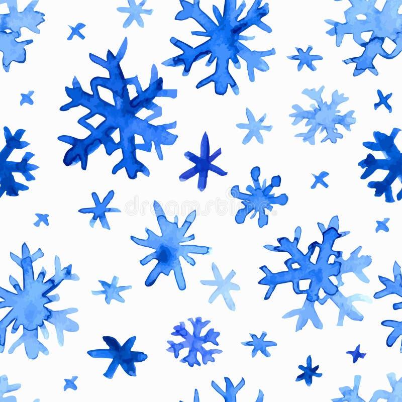 Het patroon van waterverfsneeuwvlokken stock illustratie