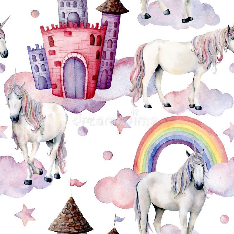 Het patroon van het waterverfsprookje met eenhoorns De hand schilderde magische die paarden, kasteel, regenboog, wolken, sterren  royalty-vrije illustratie
