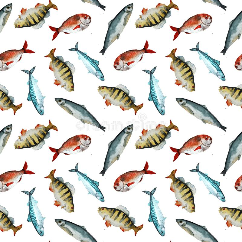 Het patroon van waterverfvissen stock illustratie