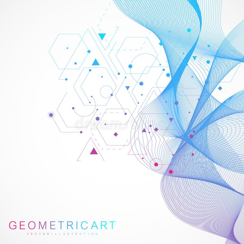 Het patroon van het wetenschapsnetwerk, verbindingslijnen en punten Moderne futuristische virtuele abstracte achtergrondmolecules royalty-vrije illustratie
