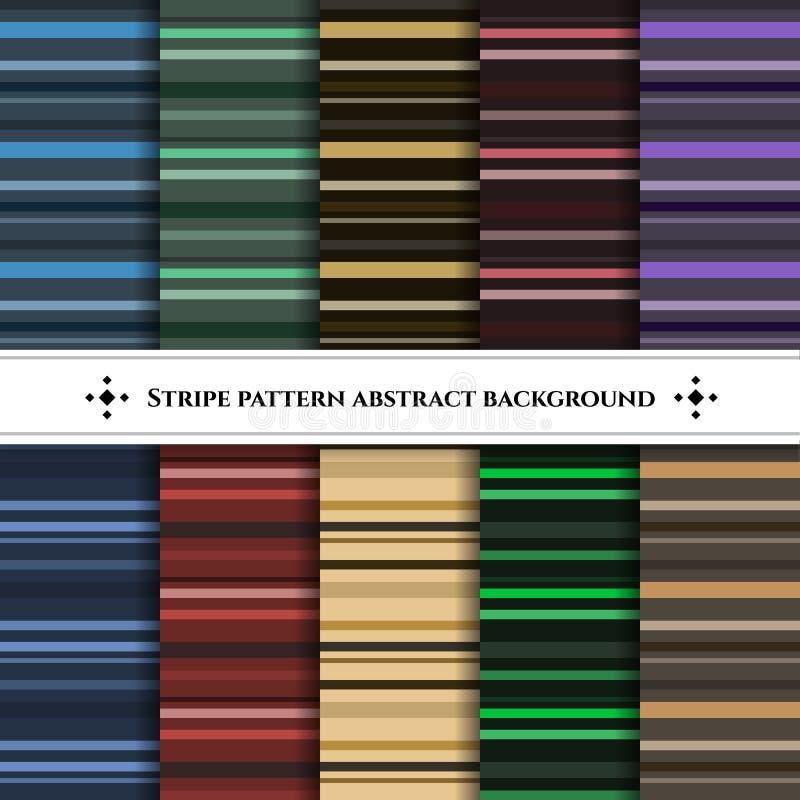 Het patroon vector vastgestelde abstracte achtergrond van de streep horizontale lijn stock illustratie