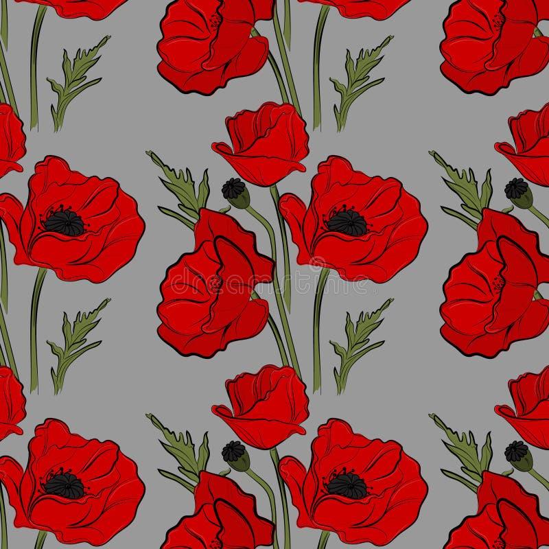 Het patroon vectorbeeld van de aard bloemenpapaver De rode die installaties van de bloemblaadjeaard op blauwe achtergrond worden  royalty-vrije illustratie