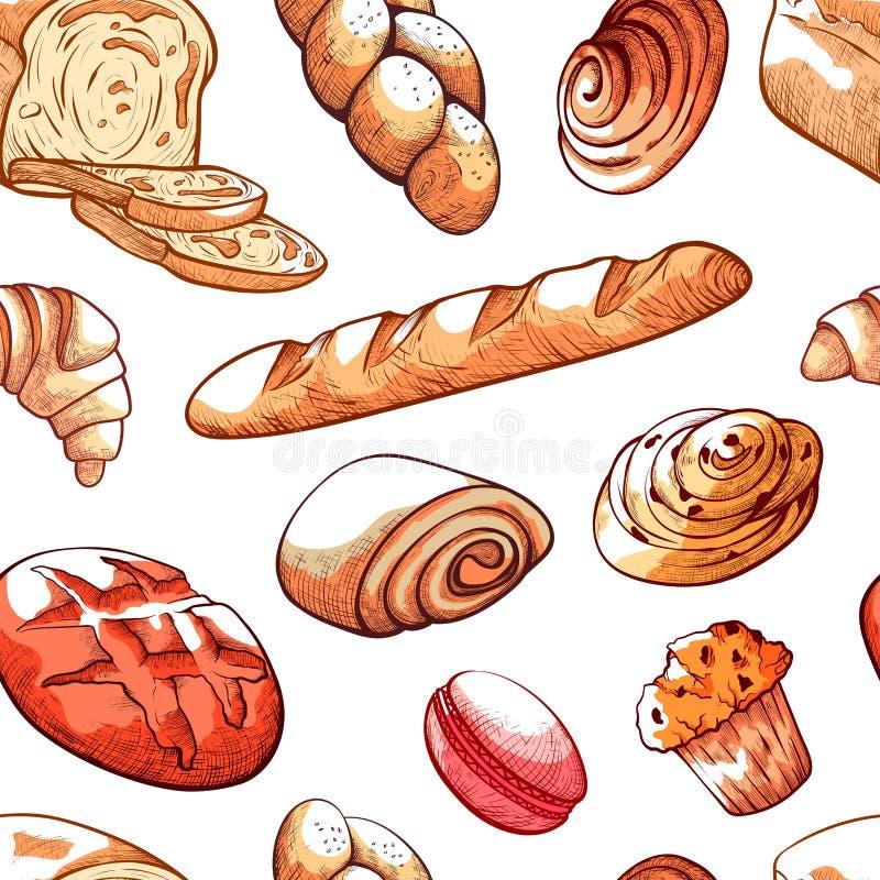 Het patroon vectorillustratie van broodproducten op witte achtergrond royalty-vrije illustratie