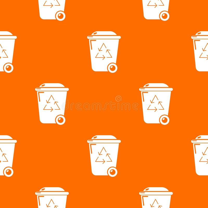 Het patroon vectorsinaasappel van de afval wheelie bak vector illustratie