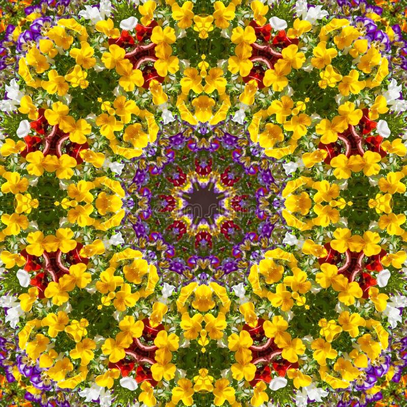 Het patroon violette caleidoscoop van de bloemkleur stock illustratie