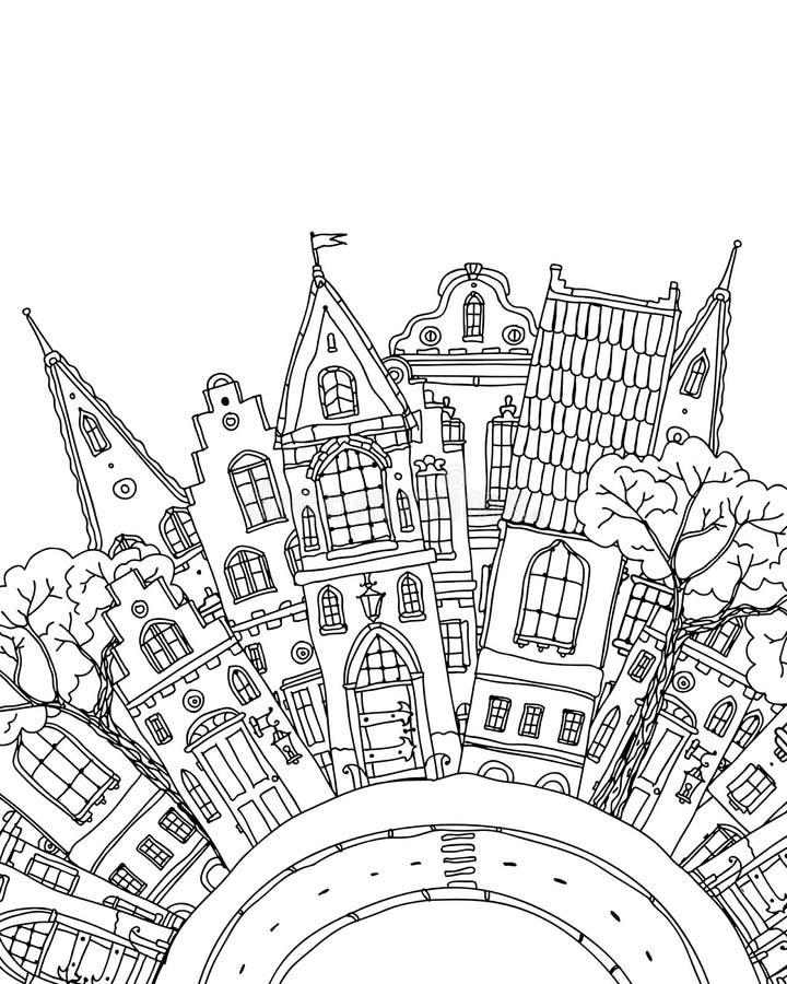 Het patroon voor artistiek het kleuren van boek met huisvest Magisch royalty-vrije illustratie