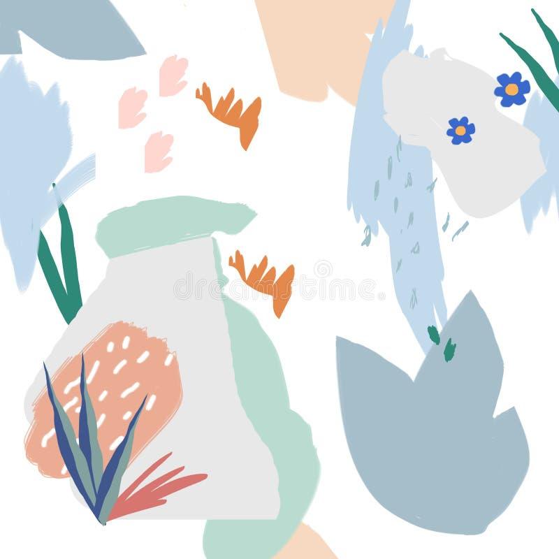 Het patroonachtergrond van de collagestijl met bloemen en abstracte vormen Modern en oorspronkelijk textiel, verpakkend document, royalty-vrije illustratie