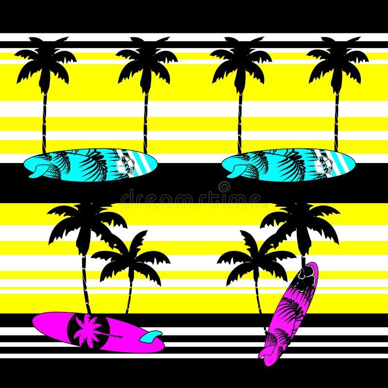 Het patroonachtergrond van de de zomer Hawaiiaanse branding stock illustratie