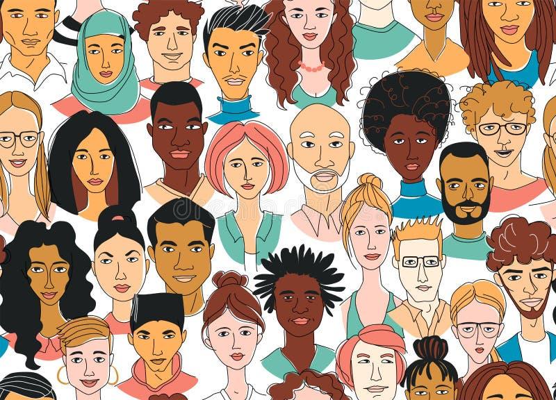 Het patroonachtergrond van de mannen van decoratieve diverse vrouwen hoofd naadloze Multi-etnische groep vector illustratie