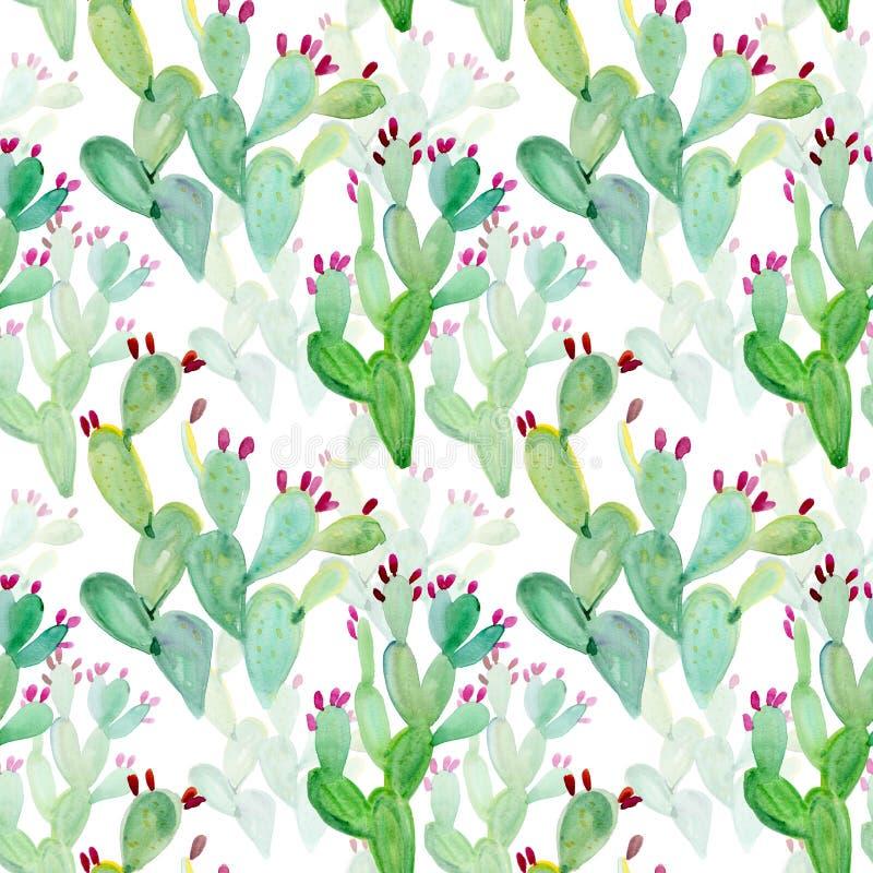 Het patroonachtergrond van de waterverf naadloze cactus royalty-vrije illustratie