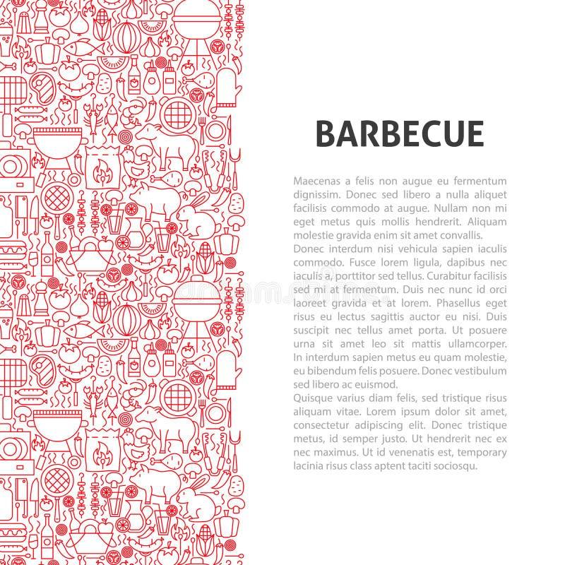 Het Patroonconcept van de barbecuelijn vector illustratie