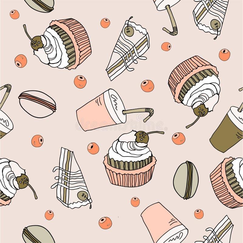 Het patroonillustratie van de dessertkrabbel stock illustratie
