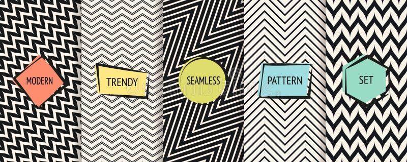 Het patrooninzameling van de zigzagchevron Vector zwart-wit geometrische naadloze texturen stock illustratie