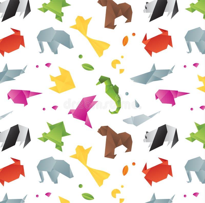 Het patroonkleur van de dierenorigami stock illustratie