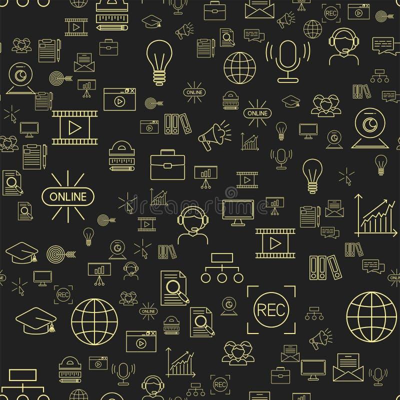 Het patroonpersoneel van het overzichts online onderwijs naadloze opleidingsboekhandel verre het leren kennis vectorillustratie royalty-vrije illustratie