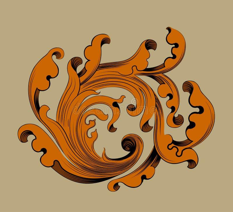 Het patroonscène van de bladgoud bloemenkunst royalty-vrije illustratie