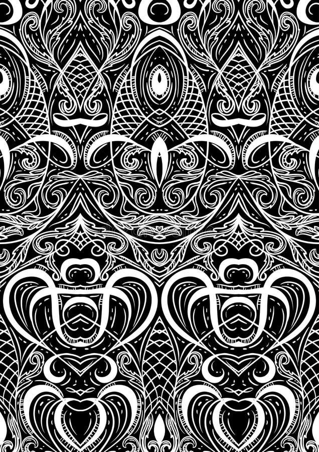 Het patroonspeelkaarten of boek van het dekkingsornament Uitstekende bloemenhand getrokken illustratie in de stijl van de lijnkun royalty-vrije illustratie