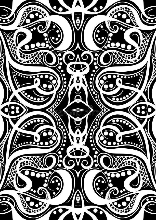 Het patroonspeelkaarten of boek van het dekkingsornament Uitstekende bloemenhand getrokken illustratie in de stijl van de lijnkun vector illustratie