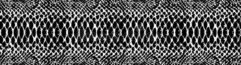 Het patroontextuur die van de slanghuid naadloze zwart-wit zwart herhalen & wit Vector Textuurslang Modieuze druk stock illustratie
