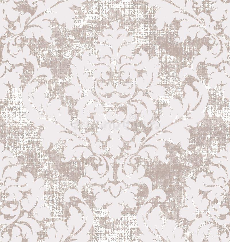 Het patroonvector van de rococo'stextuur Het bloemen oude effect van de ornamentdecoratie Victoriaans gegraveerd retro ontwerp Ui stock illustratie