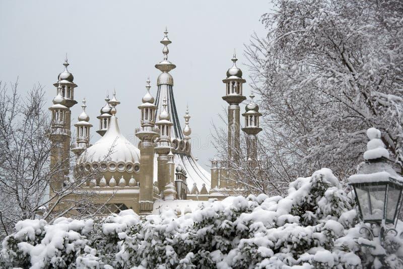 Het Paviljoen van Brighton in de winter royalty-vrije stock afbeelding