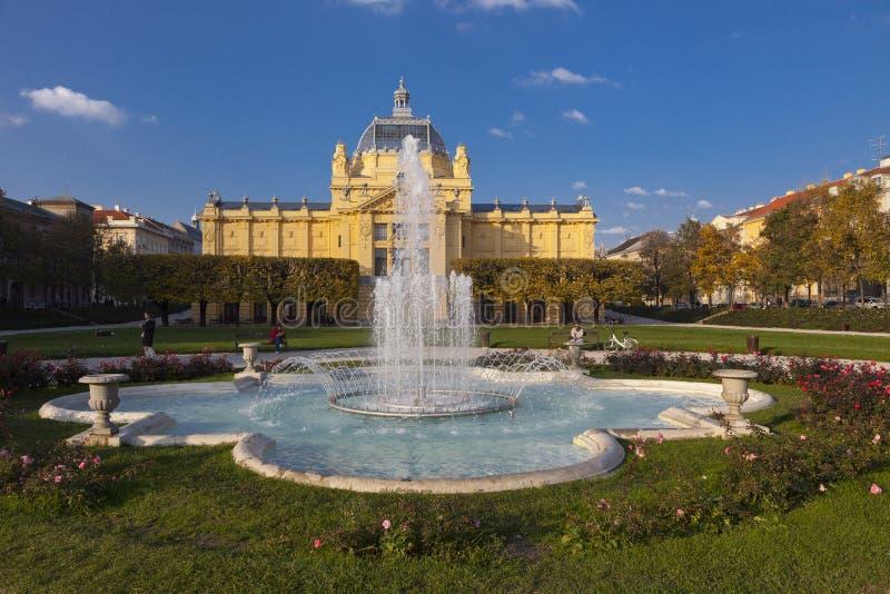 Het paviljoen van de kunst in Zagreb stock afbeeldingen