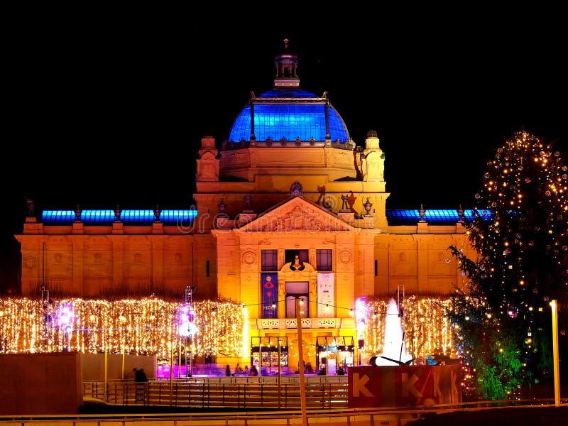 Het Paviljoen van de kunst in Zagreb, Kroatië stock foto's