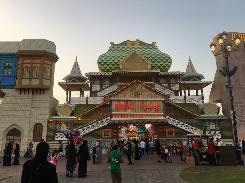 Het paviljoen van Rusland bij Globaal Dorp in Doubai, de V.A.E royalty-vrije stock foto