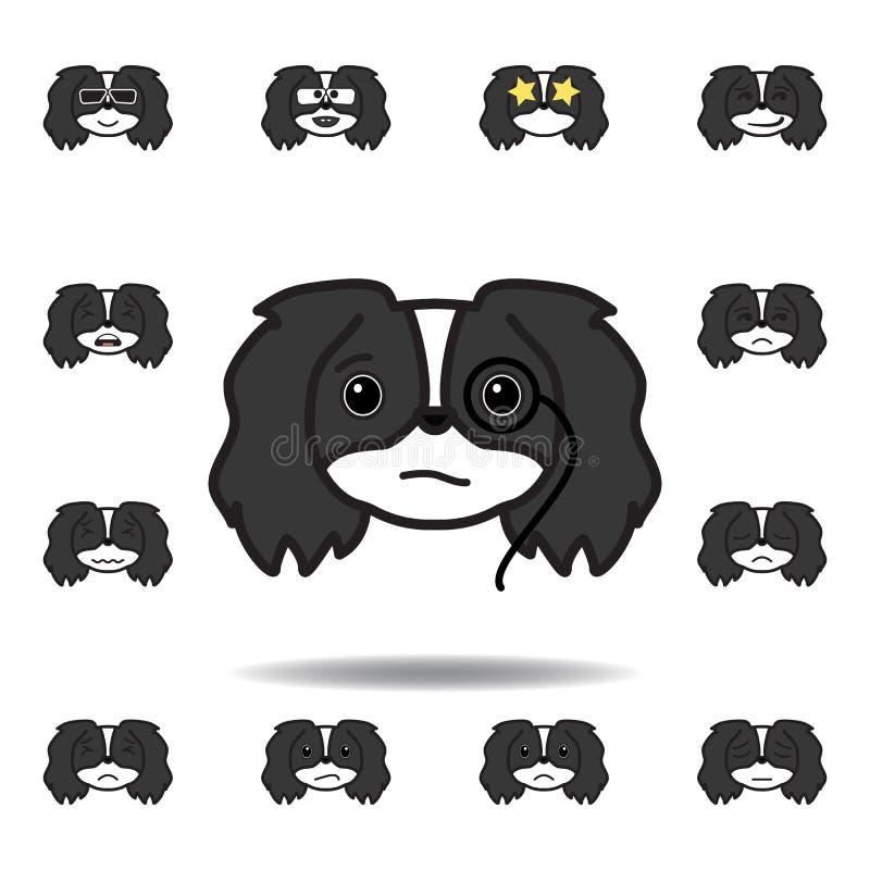 het pekingese multicolored pictogram van de emojiarrogantie Reeks pekingese pictogrammen van de emojiillustratie De tekens, symbo vector illustratie