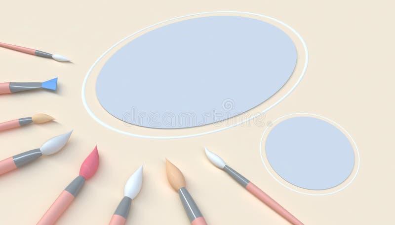 Het penseel voor Make-up borstelt artistieke close-up en Mooi kunstwerk in van de kunststudio en Cirkel minimaal Concept op Gele  vector illustratie
