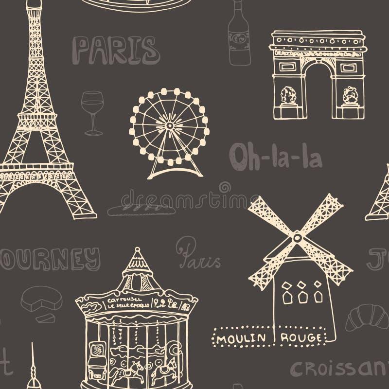 Het perfecte naadloze patroon van Parijs met alle symbolen stock illustratie