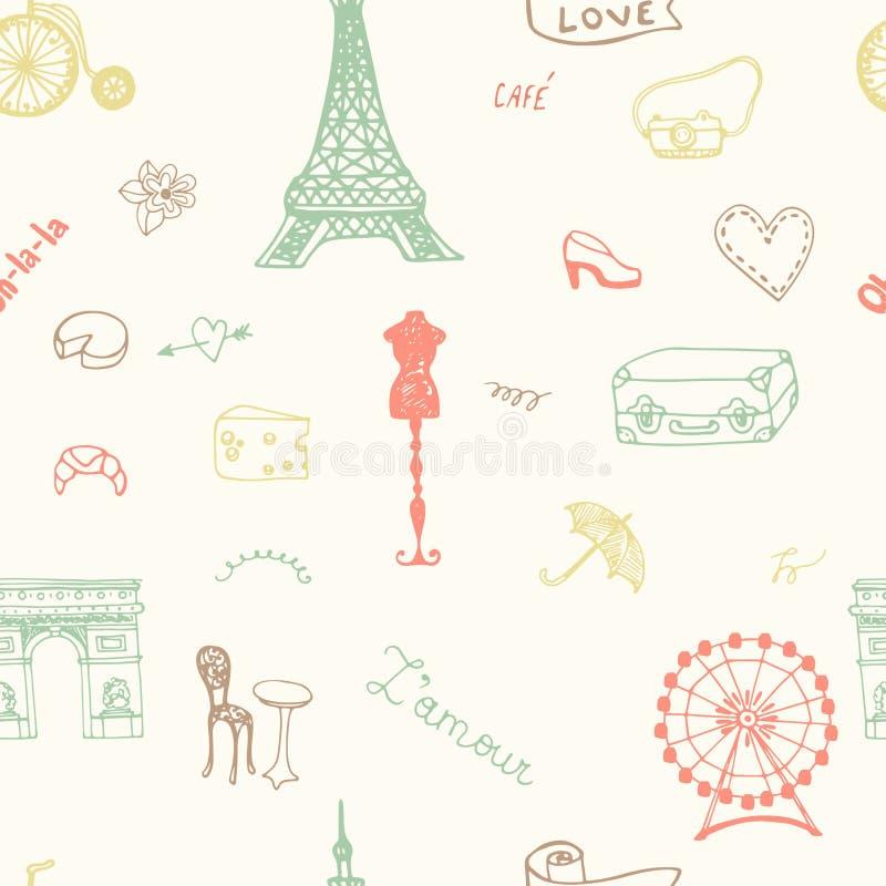 Het perfecte naadloze patroon van Parijs met alle symbolen royalty-vrije illustratie