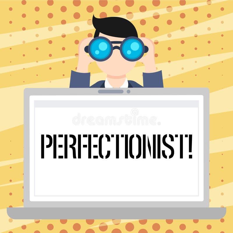 Het Perfectionistische Concept die van de handschrifttekst Persoon betekenen die alles de perfecte Holding van de Hoogste normenm stock illustratie