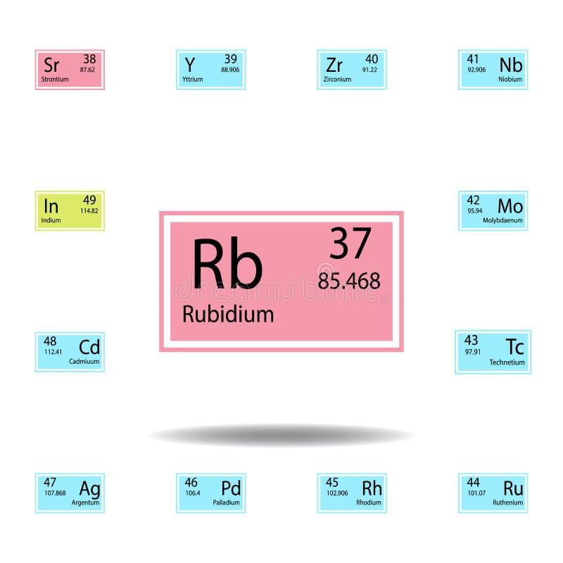 Het periodieke pictogram van de het rubidiumkleur van het lijstelement Reeks van het chemische pictogram van de tekenkleur Tekens royalty-vrije illustratie