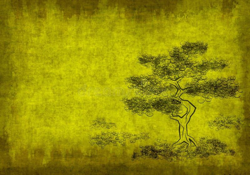 Het perkament van het blad met cijfer van boom stock illustratie