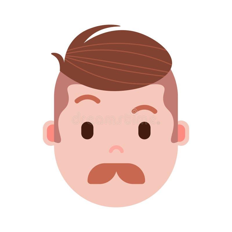 Het personagepictogram van jongens hoofdemoji met gezichtsemoties, avatar karakter, het gezicht van de mensensnor met verschillen stock illustratie