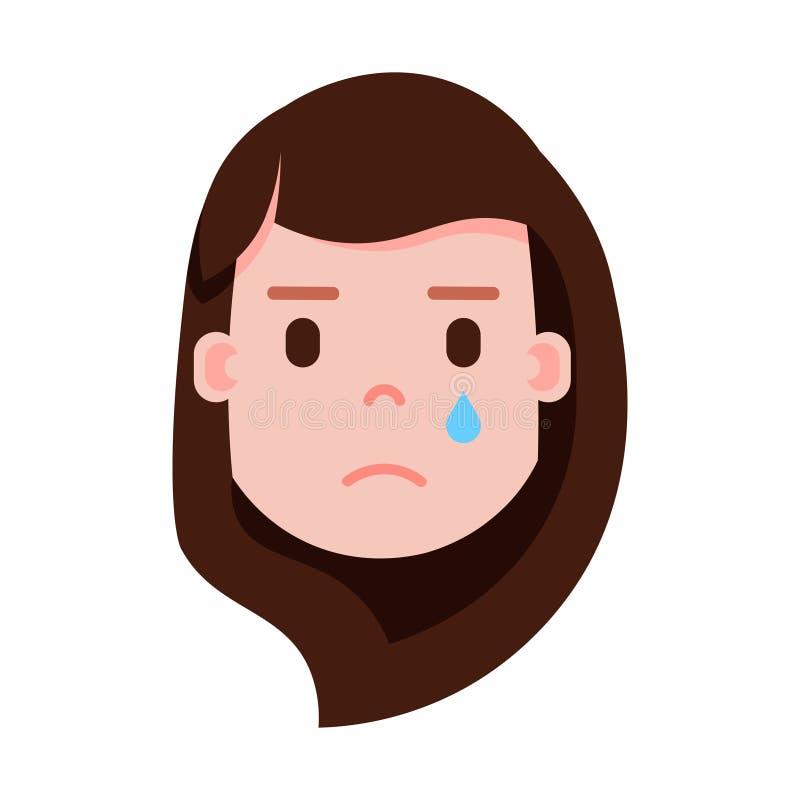 Het personagepictogram van meisjes hoofdemoji met gezichtsemoties, avatar karakter, vrouwen schreeuwend gezicht met verschillende vector illustratie