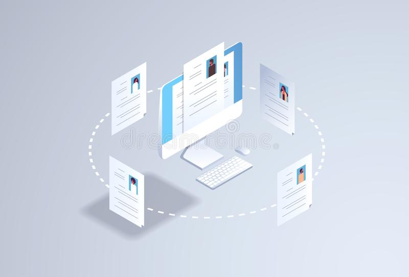 Het personeel van de van de kandidaat curriculum vitaerekrutering baanpositie u het huren het concept cv hervat profiel op comput royalty-vrije illustratie
