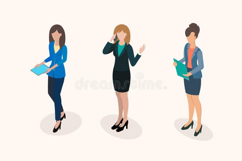 Het personeel van het bedrijfsvrouwenbureau royalty-vrije illustratie