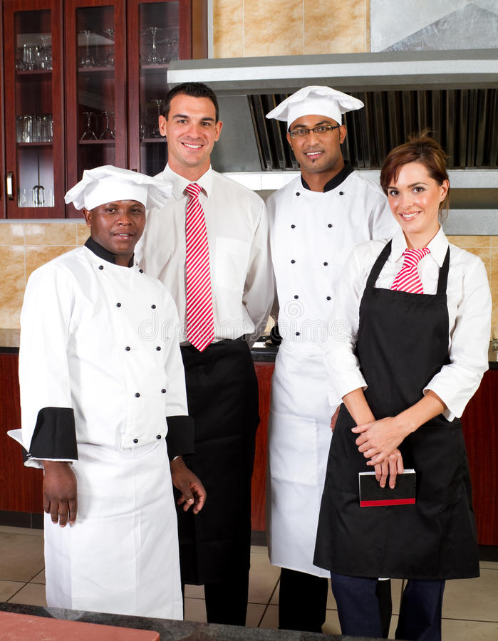 Het personeel van het restaurant