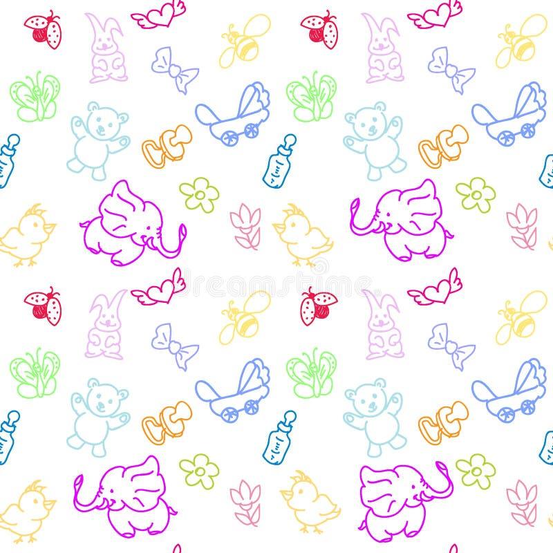Het Personeels naadloos patroon van het jonge geitje stock illustratie