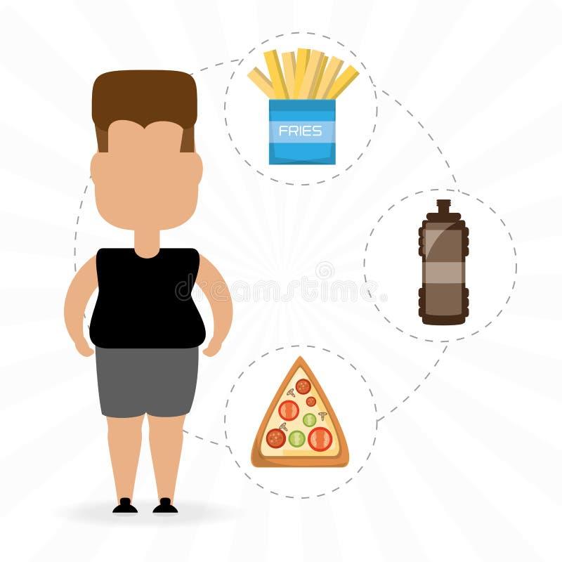 Het persoonsvet voor eet snel voedsel stock illustratie